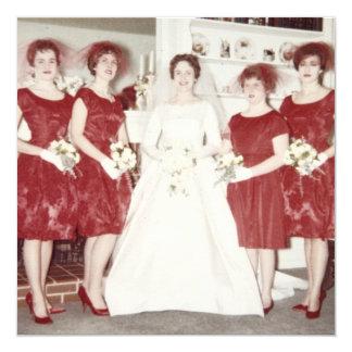 Ducha nupcial de los años 60 retros invitación 13,3 cm x 13,3cm