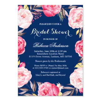 """Ducha nupcial de los azules marinos florales color invitación 5"""" x 7"""""""