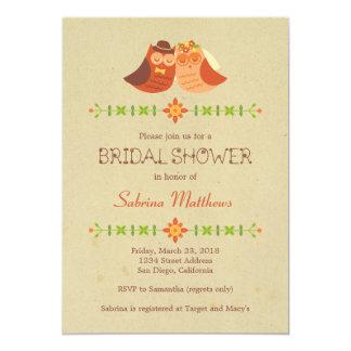 Ducha nupcial de los búhos del Lovebird Invitación 12,7 X 17,8 Cm