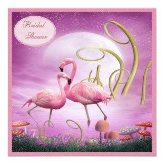 """Ducha nupcial de los flamencos rosados elegantes invitación 5.25"""" x 5.25"""""""