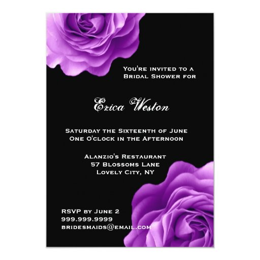 """Ducha nupcial de los rosas púrpuras invitación 5"""" x 7"""""""