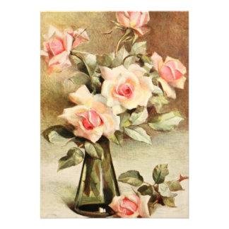 Ducha nupcial de los rosas rosados del jardín del invitación