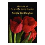 Ducha nupcial de los tulipanes rojos invitación personalizada