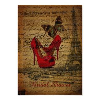 """ducha nupcial de París de la torre Eiffel roja de Invitación 5"""" X 7"""""""