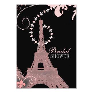"""ducha nupcial de París de la torre Eiffel rosada Invitación 5"""" X 7"""""""