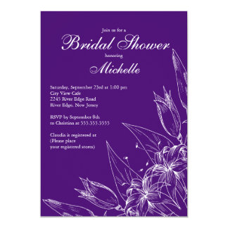 Ducha nupcial de Purplel de la flor elegante del Invitación 12,7 X 17,8 Cm