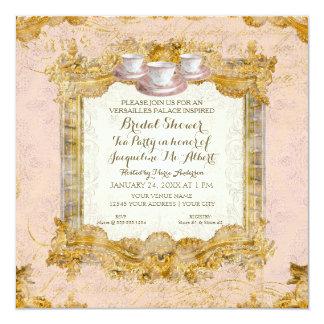 """Ducha nupcial de Versalles de la fiesta del té Invitación 5.25"""" X 5.25"""""""