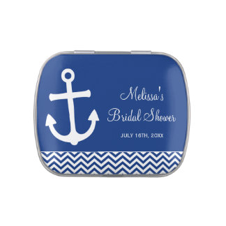 Ducha nupcial del ancla de los azules marinos náut latas de dulces