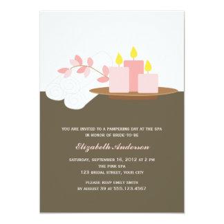 Ducha nupcial del balneario {rosa} invitación 12,7 x 17,8 cm