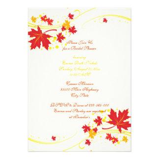 Ducha nupcial del boda amarillo rojo de las hojas