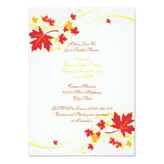 Ducha nupcial del boda amarillo rojo de las hojas invitación 12,7 x 17,8 cm