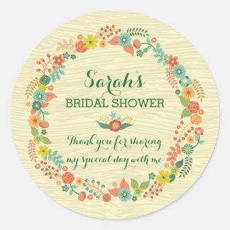Ducha nupcial del boda de la guirnalda floral etiquetas redondas