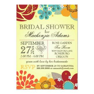 Ducha nupcial del boda de la tipografía floral invitación 11,4 x 15,8 cm