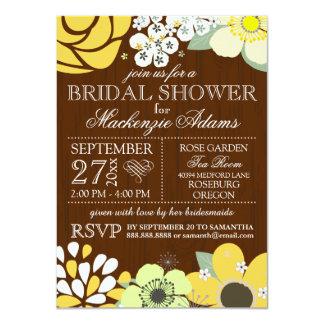 Ducha nupcial del boda del país de la flor moderna invitación 11,4 x 15,8 cm