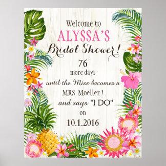 Ducha nupcial del boda rústico hawaiano de la póster