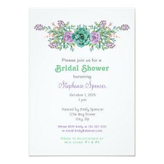 """Ducha nupcial del boda suculento floral de la invitación 5"""" x 7"""""""
