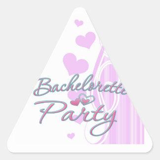 ducha nupcial del corazón del fiesta rosado del pegatina triangular