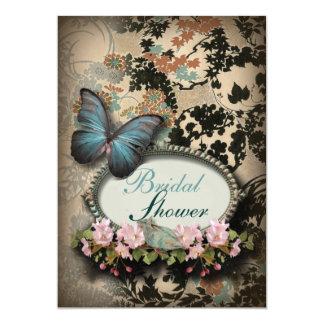 """Ducha nupcial del damasco de la mariposa del azul invitación 5"""" x 7"""""""