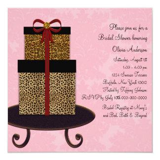 """Ducha nupcial del damasco de los regalos rosados invitación 5.25"""" x 5.25"""""""