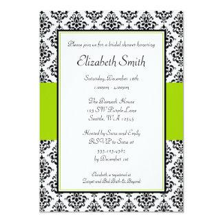 Ducha nupcial del damasco del negro y de la verde invitación personalizada