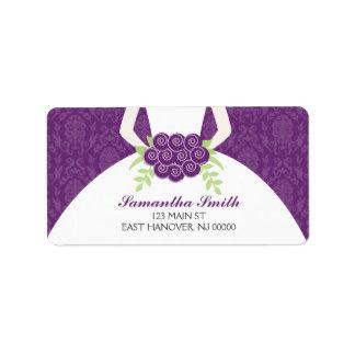 Ducha nupcial del damasco púrpura etiqueta de dirección