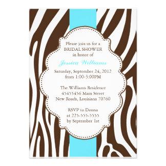 Ducha nupcial del estampado de zebra invitacion personal