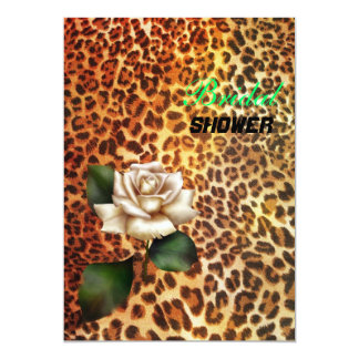 """Ducha nupcial del estampado leopardo color de rosa invitación 5"""" x 7"""""""
