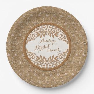 Ducha nupcial del falso de la arpillera boda de plato de papel de 9 pulgadas