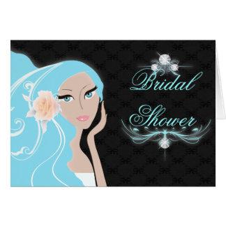 ducha nupcial del fashionista femenino elegante de tarjeta de felicitación