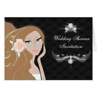 ducha nupcial del fashionista femenino elegante de tarjeta pequeña