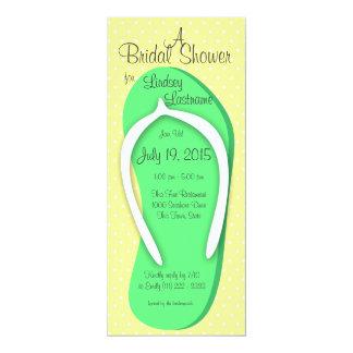 Ducha nupcial del flip-flop verde invitación 10,1 x 23,5 cm