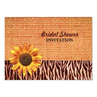 ducha nupcial del girasol del país de la cebra de invitación 11,4 x 15,8 cm