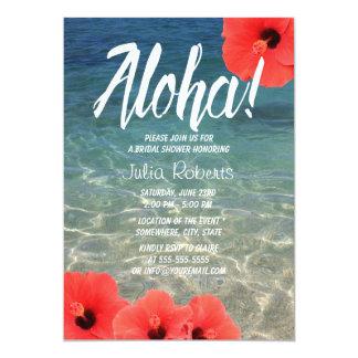 """Ducha nupcial del hibisco hawaiano y de la playa invitación 5"""" x 7"""""""