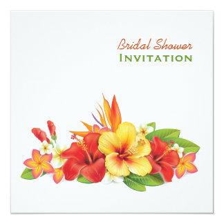 """Ducha nupcial del hibisco tropical invitación 5.25"""" x 5.25"""""""