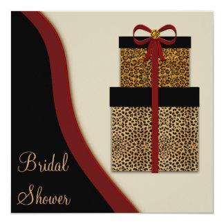 """Ducha nupcial del leopardo de los regalos del invitación 5.25"""" x 5.25"""""""