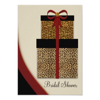"""Ducha nupcial del leopardo del leopardo rojo de invitación 5"""" x 7"""""""