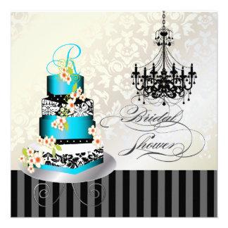 Ducha nupcial del monograma de PixDezines torta a Invitación