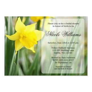 Ducha nupcial del narciso amarillo de la primavera invitación 12,7 x 17,8 cm