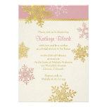 Ducha nupcial del oro del invierno de marfil rosad invitacion personalizada