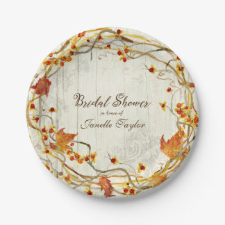Ducha nupcial del otoño rústico de la caída del platos de papel