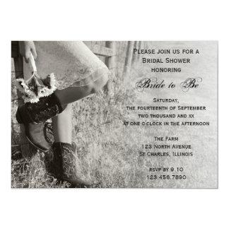 Ducha nupcial del país de la vaquera y de los invitación 12,7 x 17,8 cm