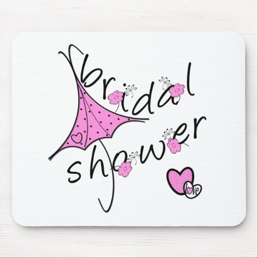 Ducha nupcial del paraguas rosado tapetes de ratones