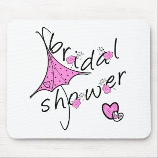 Ducha nupcial del paraguas rosado tapetes de raton