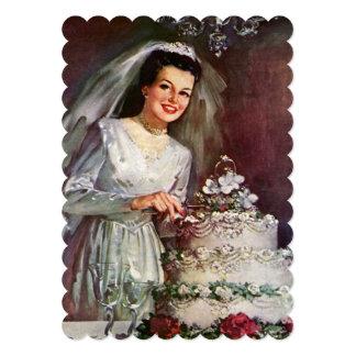 Ducha nupcial del pastel de bodas de la novia del invitaciones personalizada