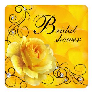 Ducha nupcial del rosa negro y amarillo invitación 13,3 cm x 13,3cm
