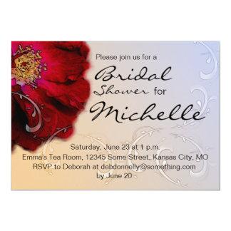 Ducha nupcial del rosa rojo invitación 12,7 x 17,8 cm