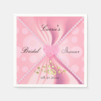 Ducha nupcial del satén rosado de los lunares servilleta de papel