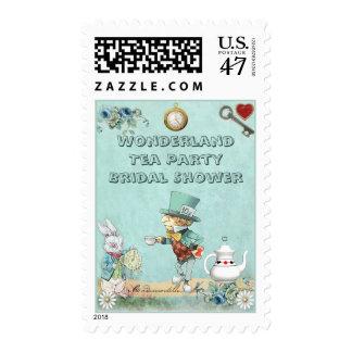 Ducha nupcial del sombrerero de la fiesta del té sello postal