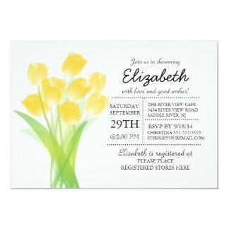Ducha nupcial del tulipán amarillo tipográfico invitación 12,7 x 17,8 cm