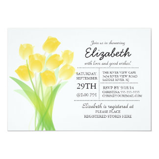"""Ducha nupcial del tulipán amarillo tipográfico invitación 5"""" x 7"""""""